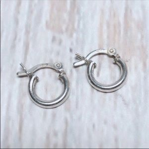 .925 Sterling Silver Tiny Silver Hoops